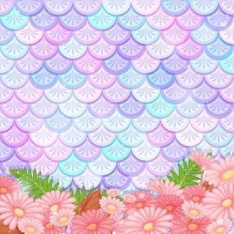 Pastel zeemeermin schaalpatroon met veel bloemen