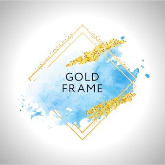 Pastelblauwe aquarelvlekken en gouden lijnen