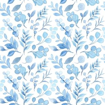 Pastelblauwe bladeren aquarel naadloos patroon