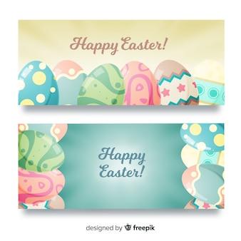 Pastelkleur eieren pasen banner