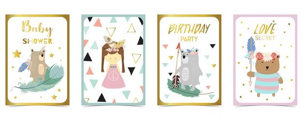 Pastelkleur kaart met beer, meisje, pijl