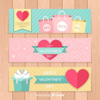 Pastelkleur valentijnsdag verkoop banner
