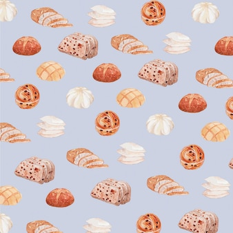 Pastelkleur waterverf brood naadloos patroon