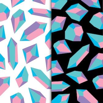 Pastelkleuren geometrisch kristal diamant veelhoekig object edelsteen en juwelen rotsen premium vector