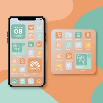 Pastelkleurig startschermthema voor smartphone