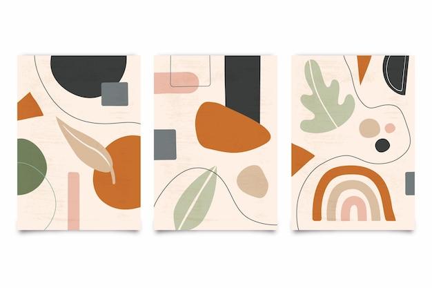 Pastelkleurige abstracte hand getekende covers