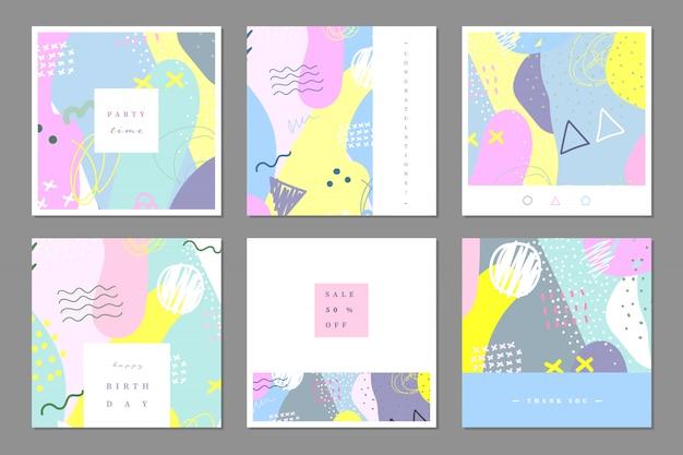 Pastelkleurige abstracte multifunctionele kaartsjabloon.