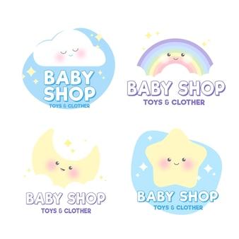 Pastelkleurige baby logo sjablooncollectie
