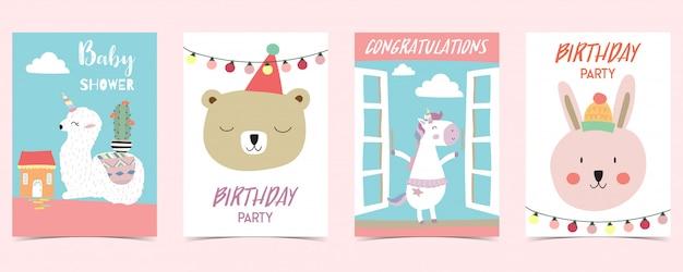 Pastelkleurige kaart met eenhoorn, ster, beer, lama, konijn