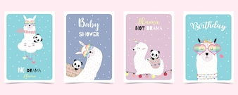 Pastelkleurige kaart met lama, panda