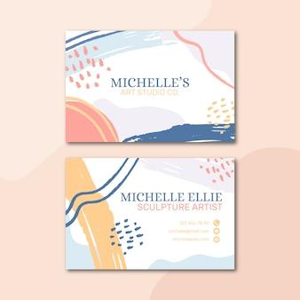 Pastelkleurige sjabloon voor visitekaartjes in memphis-stijl