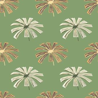 Pasteltinten naadloos bloemenpatroon met grijze en oranje gekleurde palm licuala vormen