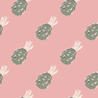 Pasteltinten naadloze patroon met grijze abstracte dragon fruit silhouetten op lichtroze achtergrond. ontworpen voor stofontwerp, textieldruk, verpakking, omslag. vector illustratie.