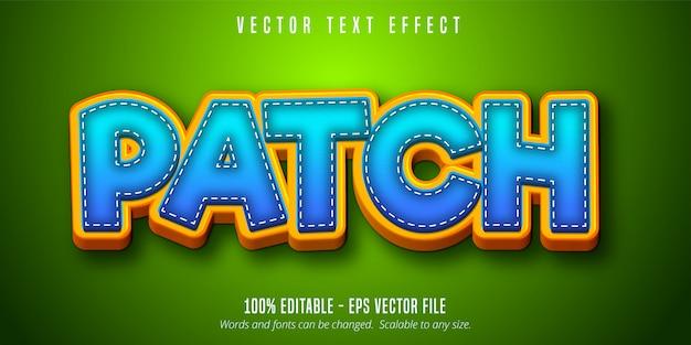 Patch-tekst, bewerkbaar teksteffect in cartoonstijl