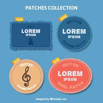 Patches collectie van jeans textiel
