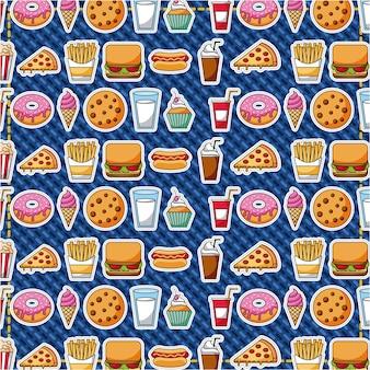 Patches fast food zoet gebak patroon vectorillustratie
