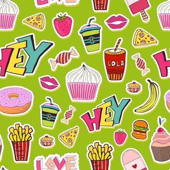 Patches naadloos patroon met voedsel