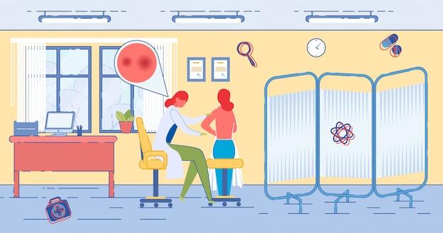 Patiënt bij afspraak dermatoloog in kliniek.