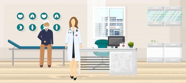Patiënt bij de illustratie van het artsenoverleg