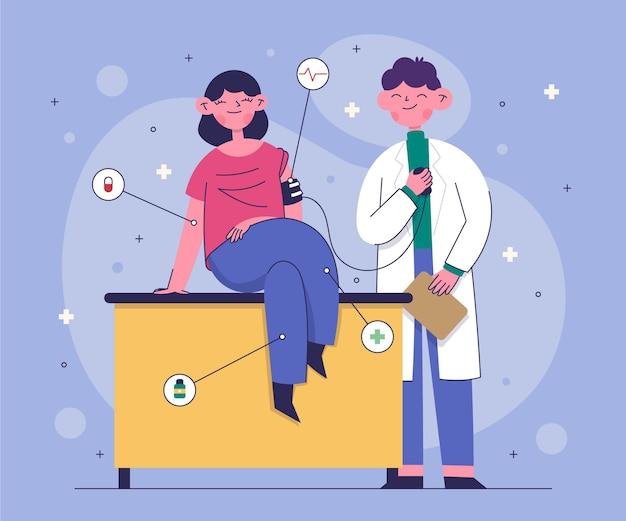 Patiënt die door een arts in een geïllustreerde kliniek wordt onderzocht