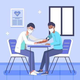 Patiënt die een medisch onderzoek in een kliniek neemt