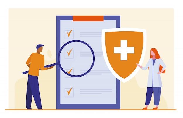 Patiënt die medische controlelijst bestudeert