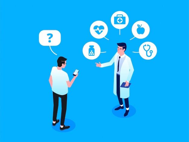 Patiënt die online een professionele arts ontmoet