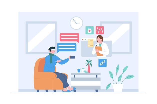 Patiënt die online overleg met de illustratie van de artsscène doet