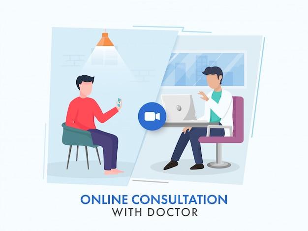 Patiënt die van videogesprek met een arts voor online overlegconcept spreekt.