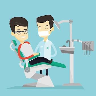 Patiënt en arts op het kantoor tandarts.