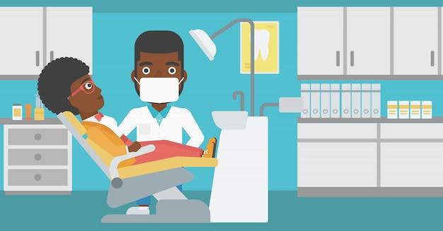 Patiënt en arts op het kantoor van de tandarts.