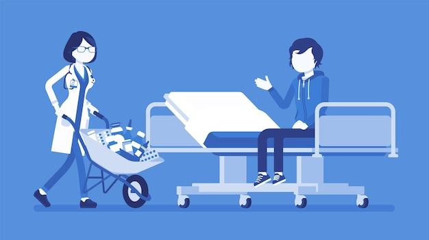 Patiënt en ziekenhuis arts met kar vol met medicijnen. man in kliniek krijgt een hoop medicijnen te nemen, te veel pillen voorgeschreven. geneeskunde en gezondheidszorg. illustratie met gezichtsloze karakters