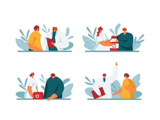 Patiënt en ziekenhuis arts praten, medische zorg concept set, vectorillustratie. platte kliniek personeel karakter hulp met medicijnen, recept, eerste hulp. zorgen over de gezondheid van man vrouw persoon.