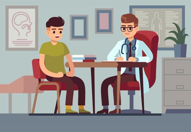 Patiënt in het kantoor van de arts. gezondheidszorg ziekenhuis arts medische hulp consult diagnose behandeling gezondheid patiënten, concept