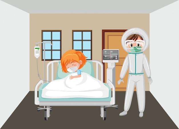 Patiënt in het ziekenhuis met arts in beschermend pak