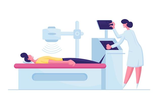Patiënt karakter liggend op x-ray of mri scan machine met verpleegkundige