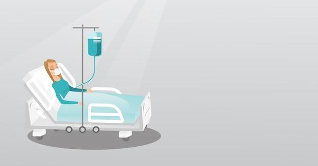 Patiënt liggend in ziekenhuisbed met zuurstofmasker.