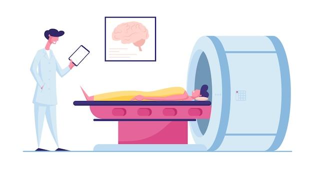 Patiënt liggend op mri-scanmachine met arts naast hem