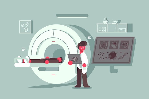 Patiënt met magnetische resonantie beeldvormingsprocedure in het ziekenhuis