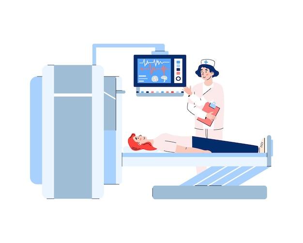 Patiënt ondergaat mri- of x-ray medisch onderzoek cartoon.