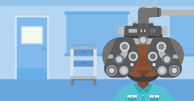 Patiënt tijdens oogonderzoek.