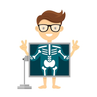 Patiënt tijdens röntgenprocedure. radioloog x-ray platte karakter cartoon afbeelding. geïsoleerd op wit