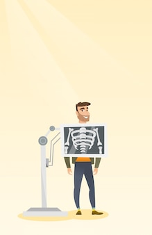 Patiënt tijdens röntgenstraalprocedure vectorillustratie