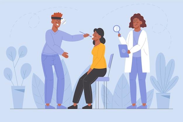 Patiënt wordt onderzocht door een arts in een kliniekillustratie
