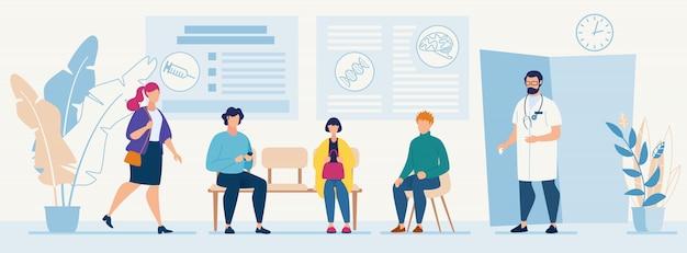 Patiënten die in stoelen zitten wachten afspraaktijd bij het consult van een ziekenhuisarts