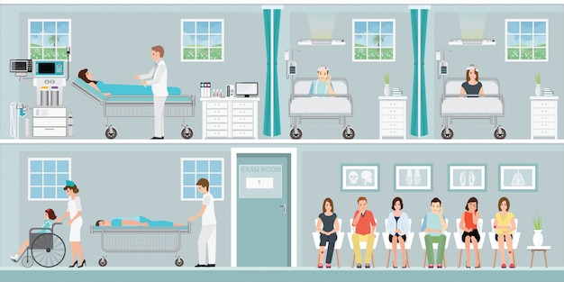Patiënten en arts in het ziekenhuis.