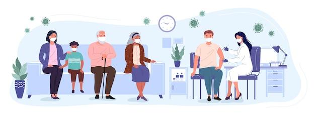 Patiënten en vrouwelijke arts in een medische kliniek. mensen van verschillende leeftijden wachten in de rij om het vaccin te ontvangen. vaccinatie en immunisatie van de bevolking tegen covid. conceptuele vector ziek