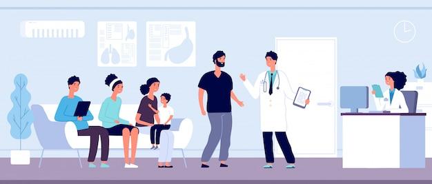 Patiënten in de wachtkamer van artsen. mensen wachten hal in kliniek bij de receptie van het ziekenhuis, gehospitaliseerde personen, gezondheidszorg vector concept