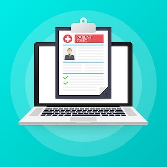 Patiëntenkaart. laptop met medisch klembord. illustratie