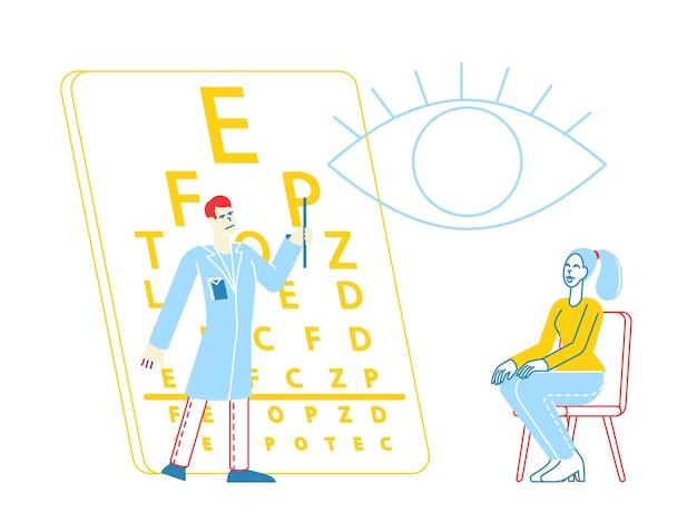 Patiëntkarakter bij oogarts doctor gezichtsvermogen check-up voor brillen dioptrie